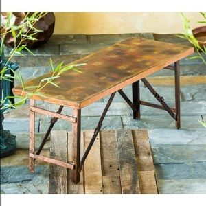 Evergreen Burnt Copper-Finish Fold-Up Garden Bench